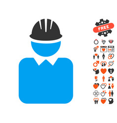 engineer icon with valentine bonus vector image vector image
