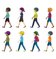 Faceless young men walking vector image vector image