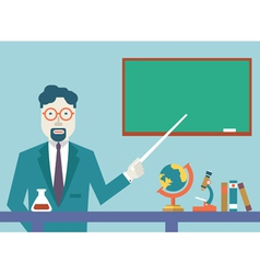 Flat teacher and study schools objects for study vector image vector image