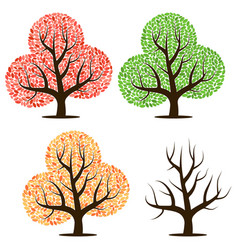 four trees with leaves vector image vector image