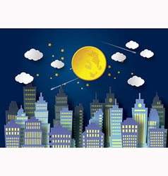 Full moon and building vector