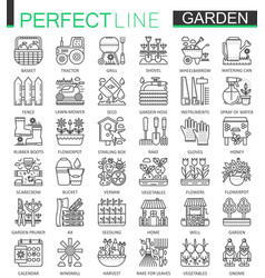 gardening and flower outline concept symbols vector image