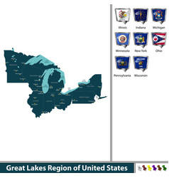 great lakes region of united states vector image vector image