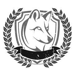 Grunge wolf head emblem vector image vector image