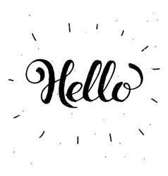 Hand-drawn word Hello in black colorHandwritten vector image vector image