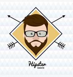 hipster face cartoon vector image vector image