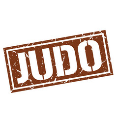 Judo square grunge stamp vector