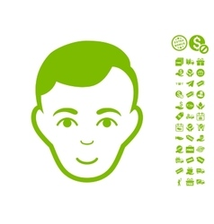 Man face icon with free bonus vector