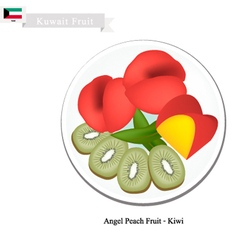 Peaches and Kiwi Fruits vector image vector image