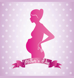 Pink profile mom pregnant mothers day ribbon dots vector