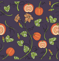 Pumpkin seamless pattern with pumpkins and vector