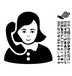 Receptionist flat icon with bonus vector
