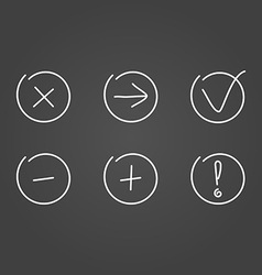 Set icons draw effect vector image vector image