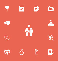 set of 13 editable love icons includes symbols vector image