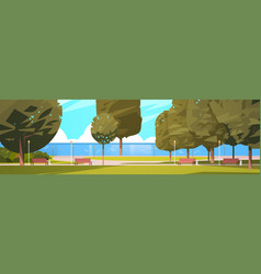 summer city park near river bank green trees and vector image