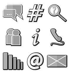 Technology icons in grey with inner shadow vector