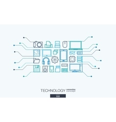 Technology integrated thin line symbols vector image