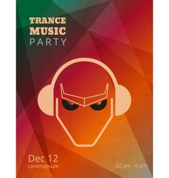 Trance music party poster vector image vector image
