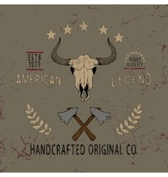 Vintage label with skull of bull vector