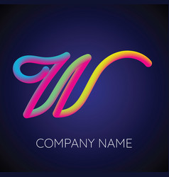 w letter logo icon blending color vector image vector image