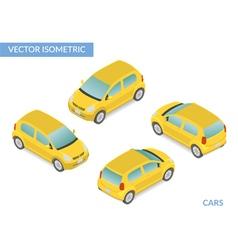 Yellow isometric hatchback vector image vector image
