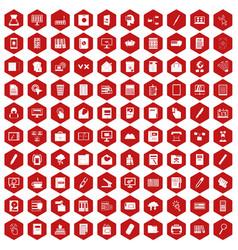 100 folder icons hexagon red vector