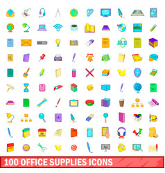 100 office supplies icons set cartoon style vector