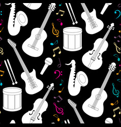 Musical seamless pattern with instruments vector