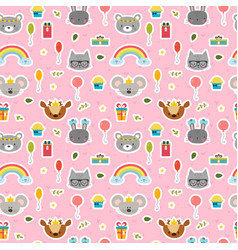 Cute seamless pattern with cartoon animals sweet vector