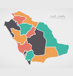 Saudi arabia map with states and modern round vector