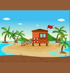 Lifeguard house on the beach vector