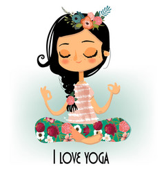 cute cartoon yoga girl vector image