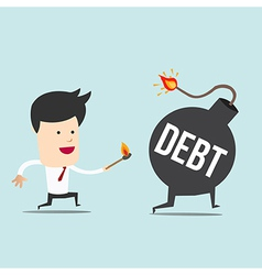 Business man and spark debt bomb vector