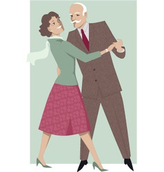 Senior couple dancing waltz vector