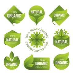 Green organic products labels vector