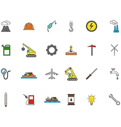 Industry colorful icons set vector