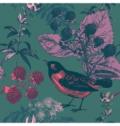 Vintage bird floral pattern vector