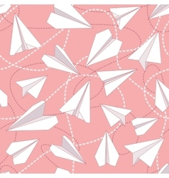 Paper planes with tangled lines seamless pattern vector