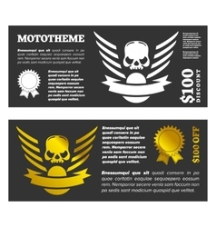 Motor skull shield design vector