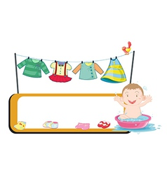 An empty template beside a baby in a basin vector image vector image