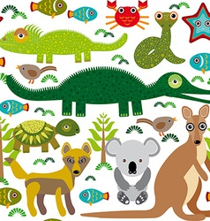 Animals Australia snake turtle crocodile alligator vector image