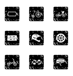 Bicycle parts icons set grunge style vector