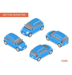 Blue isometric hatchback vector image vector image