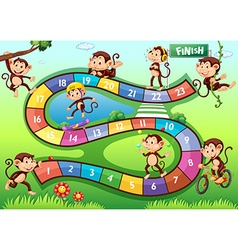 Boardgame with monkeys in different actions vector