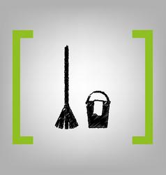 Broom and bucket sign black scribble icon vector