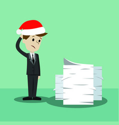 Businessman in christmas hat finding himself going vector