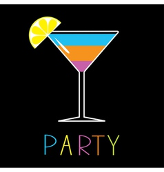 Colorful cocktail in martini glass party card vector