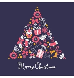 Colorful Merry Christmas tree shape with holiday vector image vector image