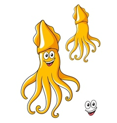 Colorful smiling cartoon squid vector image