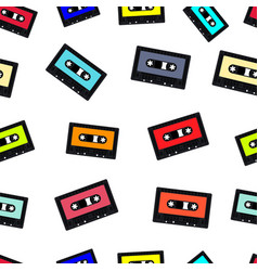 Compact audio cassette tape seamless background vector